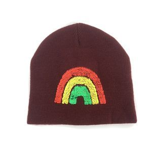 Old Navy Sequin Flip Rainbow Beanie Hat Maroon S